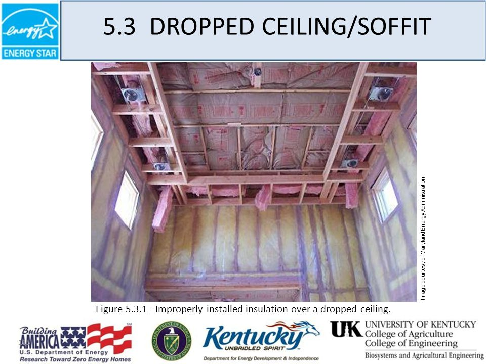 115 5.3 DROPPED CEILING/SOFFIT Image courtesy of Maryland Energy Administration Figure 5.3.1 - Improperly installed insulation over a dropped ceiling.