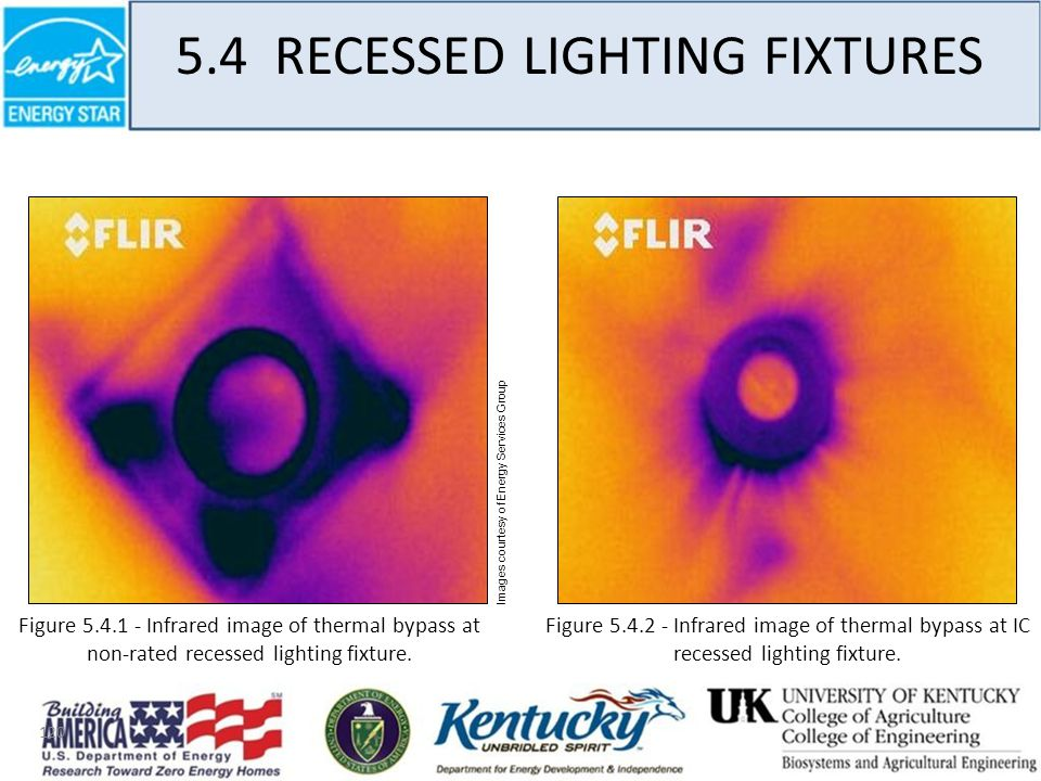 120 5.4 RECESSED LIGHTING FIXTURES Images courtesy of Energy Services Group Figure 5.4.2 - Infrared image of thermal bypass at IC recessed lighting fixture.