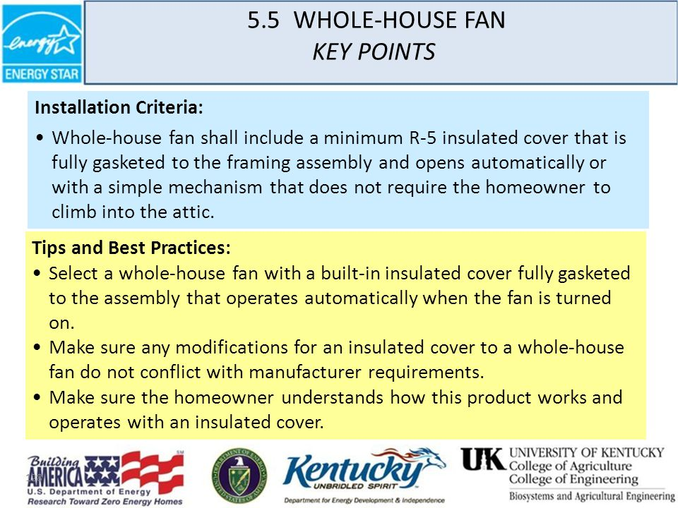 128 5.5 WHOLE-HOUSE FAN KEY POINTS Installation Criteria: Whole-house fan shall include a minimum R-5 insulated cover that is fully gasketed to the framing assembly and opens automatically or with a simple mechanism that does not require the homeowner to climb into the attic.