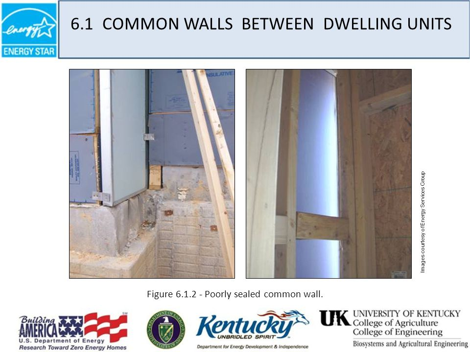 131 Images courtesy of Energy Services Group Figure 6.1.2 - Poorly sealed common wall.