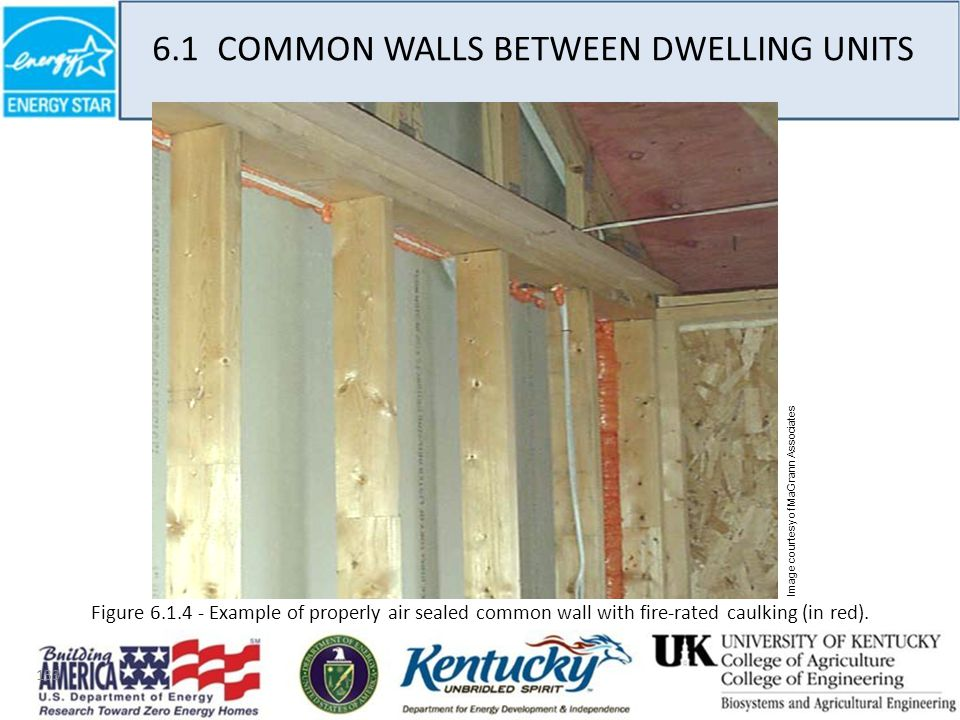 133 6.1 COMMON WALLS BETWEEN DWELLING UNITS Image courtesy of MaGrann Associates Figure 6.1.4 - Example of properly air sealed common wall with fire-rated caulking (in red).