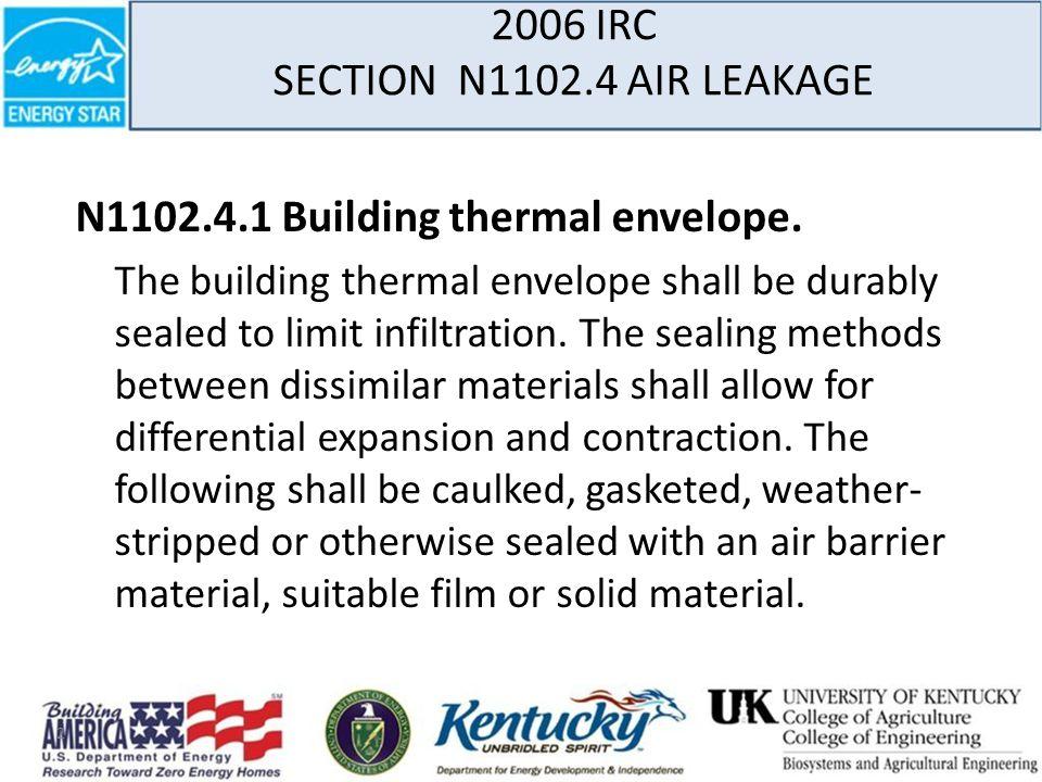 2006 IRC SECTION N1102.4 AIR LEAKAGE N1102.4.1 Building thermal envelope.