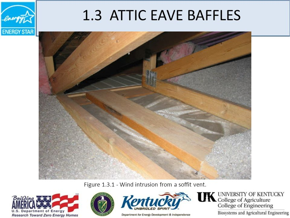 25 1.3 ATTIC EAVE BAFFLES Figure 1.3.1 - Wind intrusion from a soffit vent.
