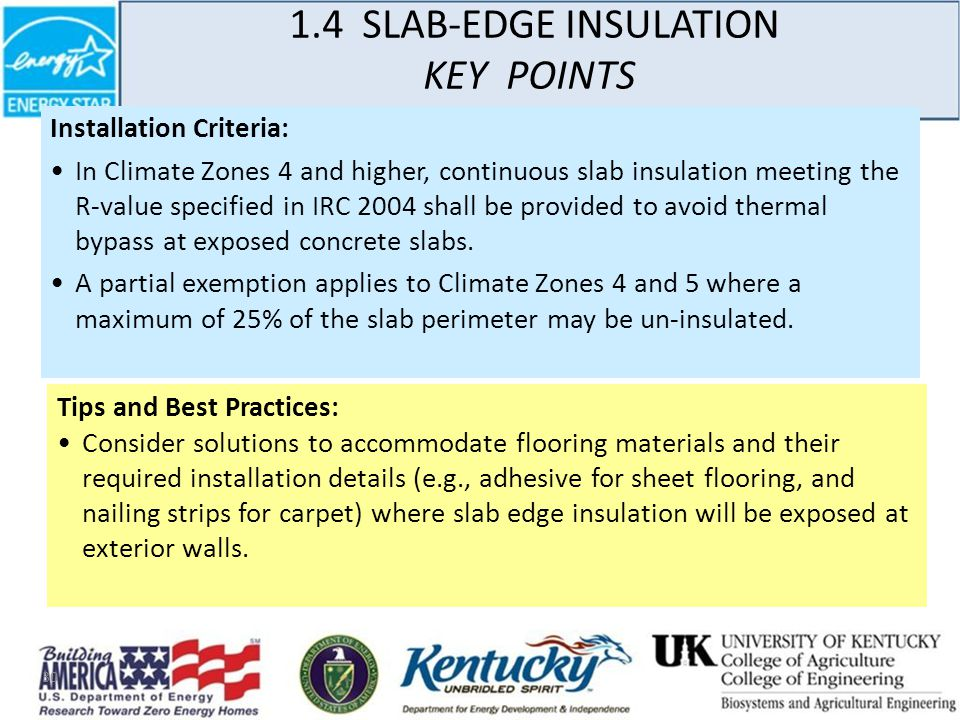 30 Installation Criteria: In Climate Zones 4 and higher, continuous slab insulation meeting the R-value specified in IRC 2004 shall be provided to avoid thermal bypass at exposed concrete slabs.