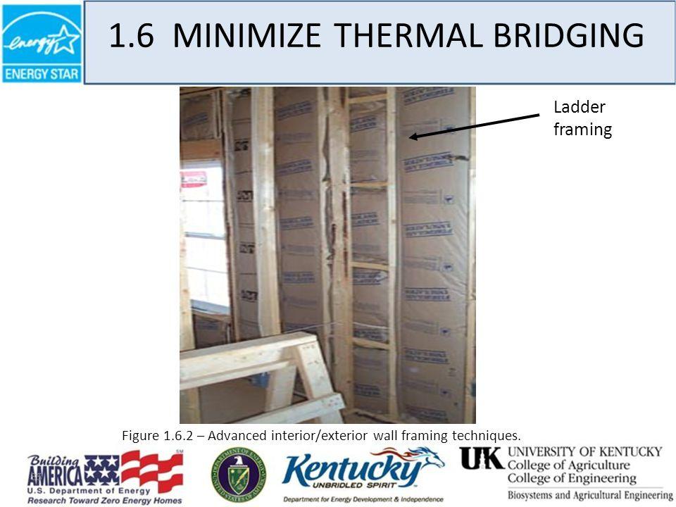 35 1.6 MINIMIZE THERMAL BRIDGING Figure 1.6.2 – Advanced interior/exterior wall framing techniques.