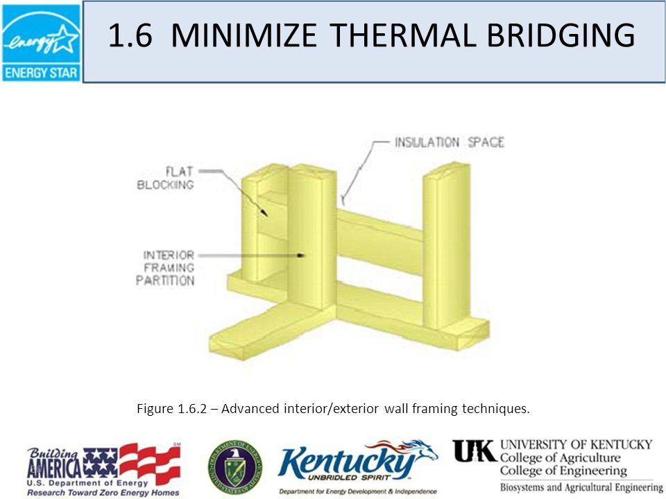 36 1.6 MINIMIZE THERMAL BRIDGING Figure 1.6.2 – Advanced interior/exterior wall framing techniques.