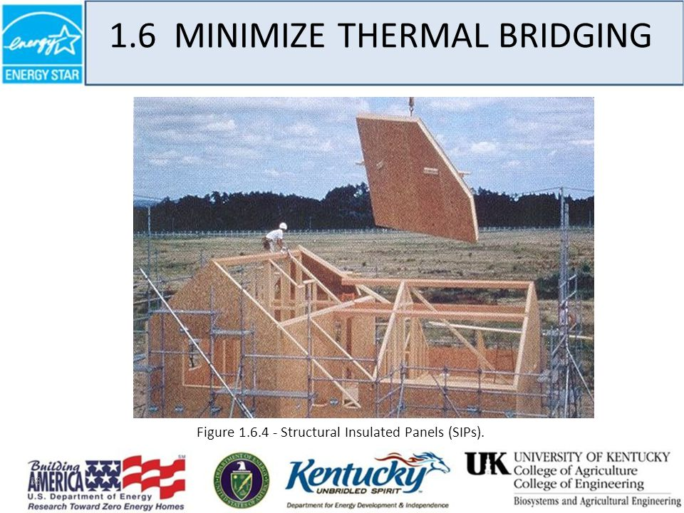 38 1.6 MINIMIZE THERMAL BRIDGING Figure 1.6.4 - Structural Insulated Panels (SIPs).