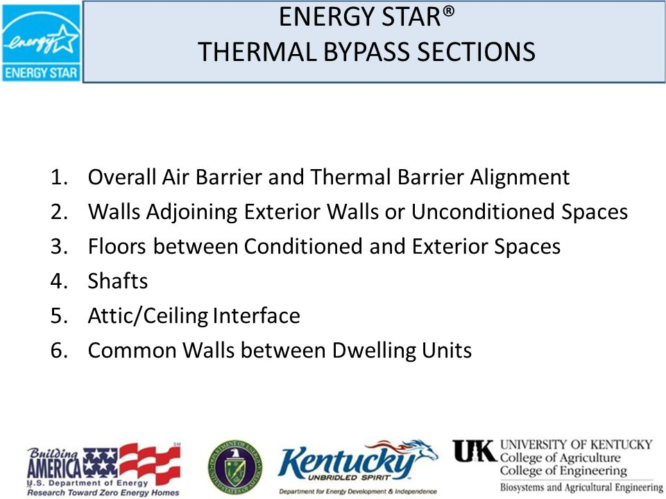 ENERGY STAR® THERMAL BYPASS SECTIONS 1.Overall Air Barrier and Thermal Barrier Alignment 2.Walls Adjoining Exterior Walls or Unconditioned Spaces 3.Floors between Conditioned and Exterior Spaces 4.Shafts 5.Attic/Ceiling Interface 6.Common Walls between Dwelling Units 4