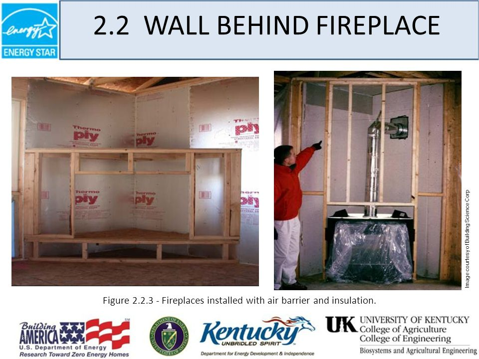 51 2.2 WALL BEHIND FIREPLACE Image courtesy of Building Science Corp Figure 2.2.3 - Fireplaces installed with air barrier and insulation.