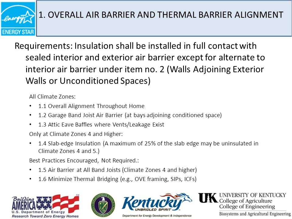 1. OVERALL AIR BARRIER AND THERMAL BARRIER ALIGNMENT Requirements: Insulation shall be installed in full contact with sealed interior and exterior air