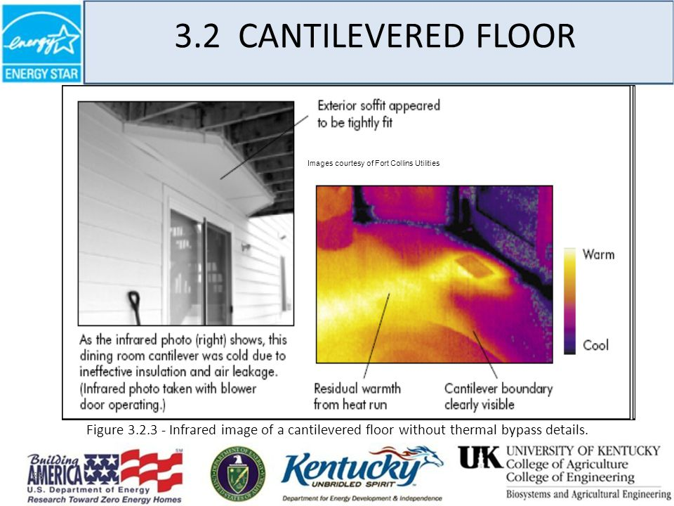 88 3.2 CANTILEVERED FLOOR Images courtesy of Fort Collins Utilities Figure 3.2.3 - Infrared image of a cantilevered floor without thermal bypass details.