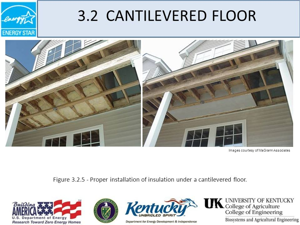 90 3.2 CANTILEVERED FLOOR Figure 3.2.5 - Proper installation of insulation under a cantilevered floor.