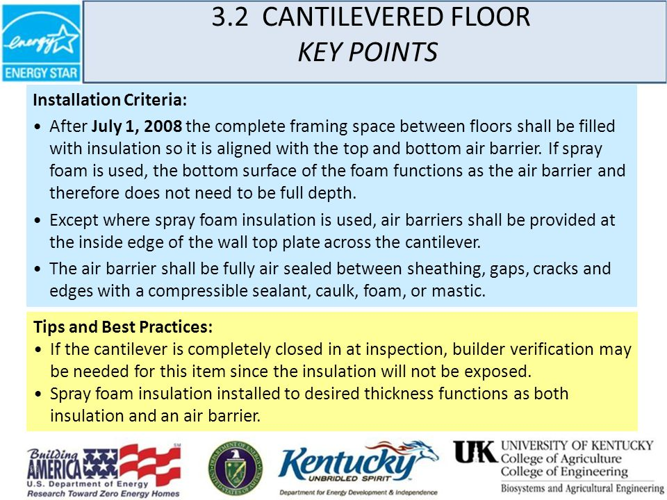91 3.2 CANTILEVERED FLOOR KEY POINTS Installation Criteria: After July 1, 2008 the complete framing space between floors shall be filled with insulation so it is aligned with the top and bottom air barrier.