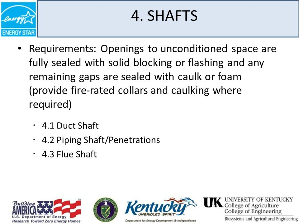 4. SHAFTS Requirements: Openings to unconditioned space are fully sealed with solid blocking or flashing and any remaining gaps are sealed with caulk
