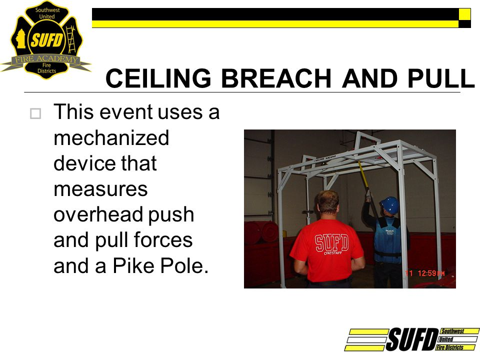 CEILING BREACH AND PULL  This event uses a mechanized device that measures overhead push and pull forces and a Pike Pole.