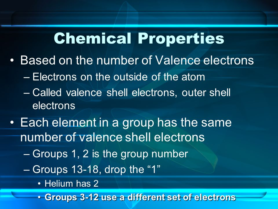 Chemical Properties Based on the number of Valence electrons –Electrons on the outside of the atom –Called valence shell electrons, outer shell electr