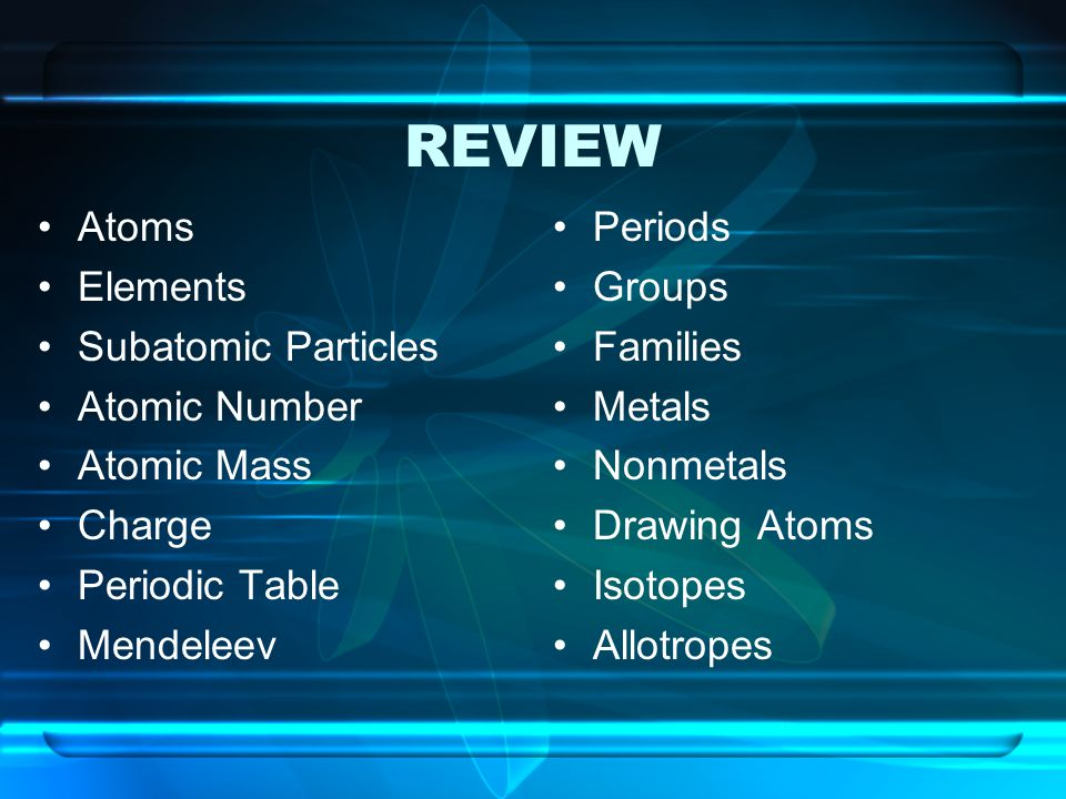 REVIEW Atoms Elements Subatomic Particles Atomic Number Atomic Mass Charge Periodic Table Mendeleev Periods Groups Families Metals Nonmetals Drawing A