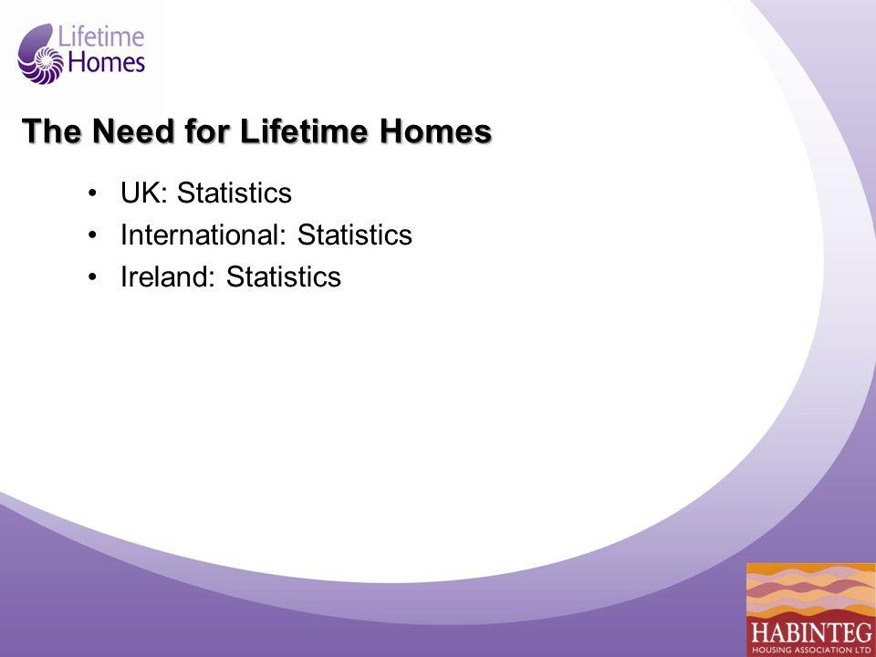 The Need for Lifetime Homes UK: Statistics International: Statistics Ireland: Statistics