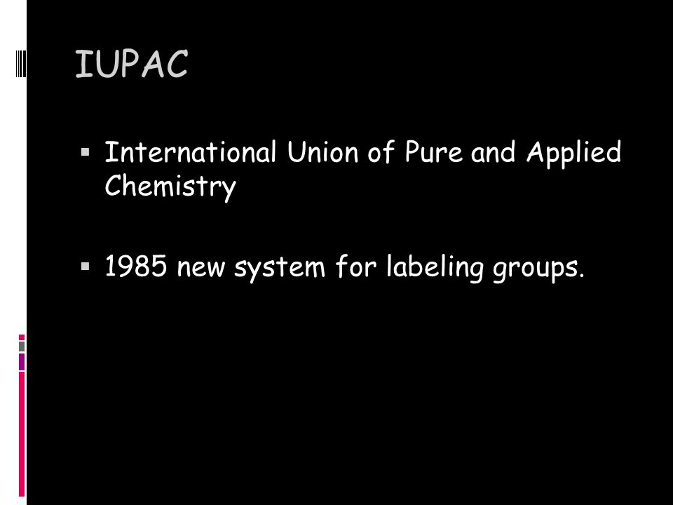IUPAC  International Union of Pure and Applied Chemistry  1985 new system for labeling groups.