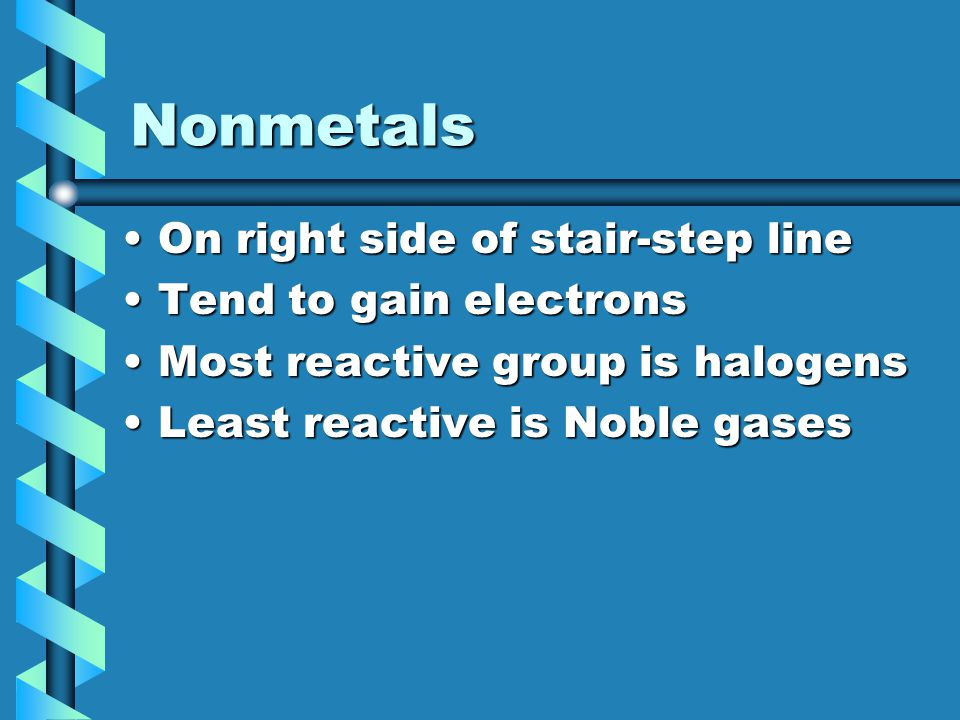 Nonmetals On right side of stair-step lineOn right side of stair-step line Tend to gain electronsTend to gain electrons Most reactive group is halogen