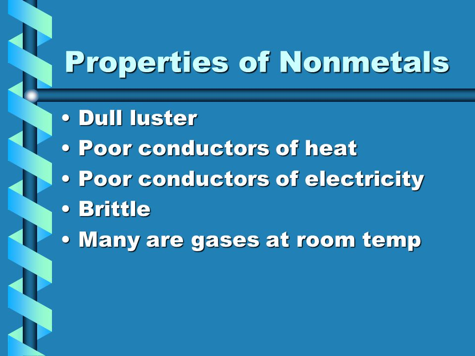Properties of Nonmetals Dull lusterDull luster Poor conductors of heatPoor conductors of heat Poor conductors of electricityPoor conductors of electri