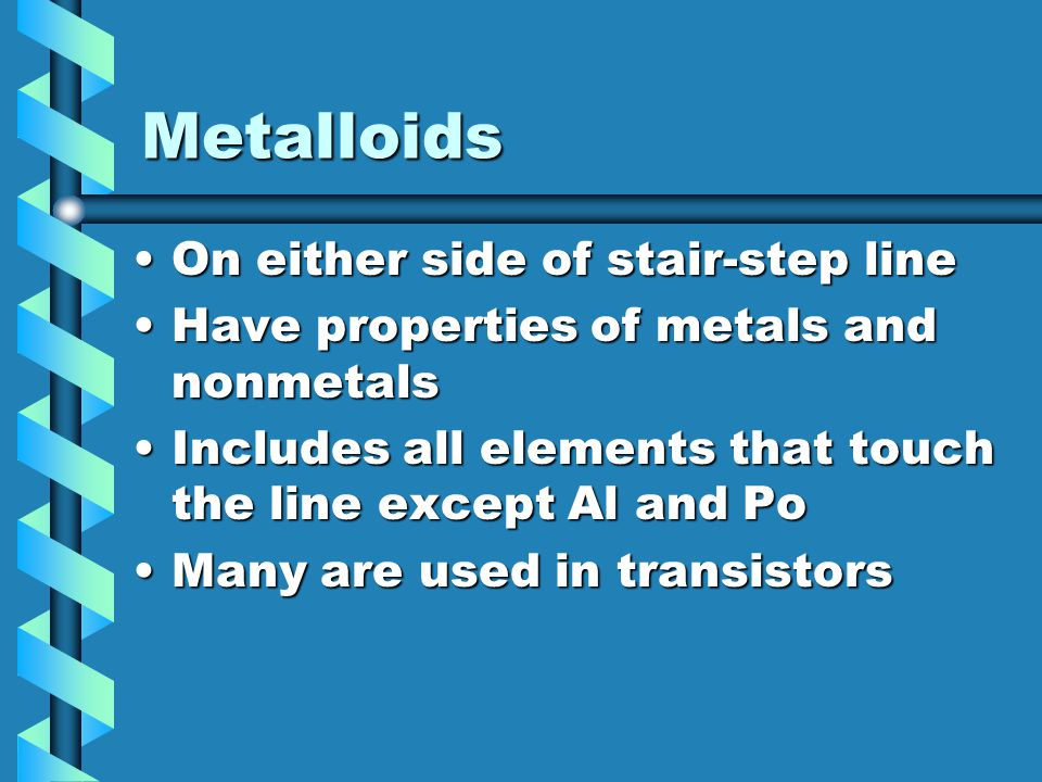 Metalloids On either side of stair-step lineOn either side of stair-step line Have properties of metals and nonmetalsHave properties of metals and non