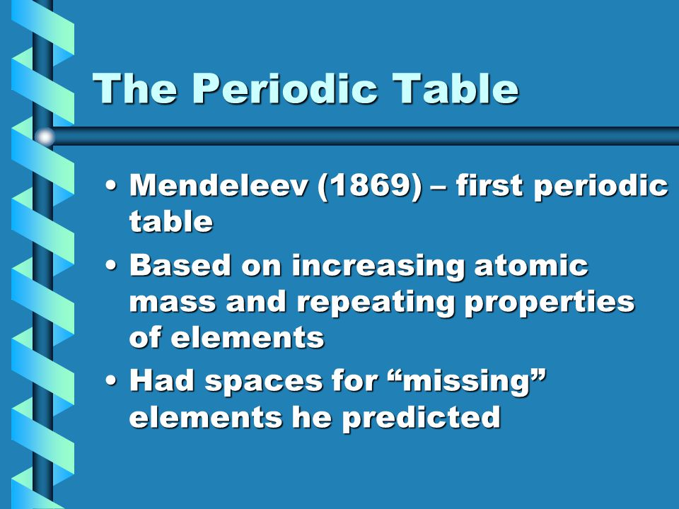 The Periodic Table Mendeleev (1869) – first periodic tableMendeleev (1869) – first periodic table Based on increasing atomic mass and repeating proper