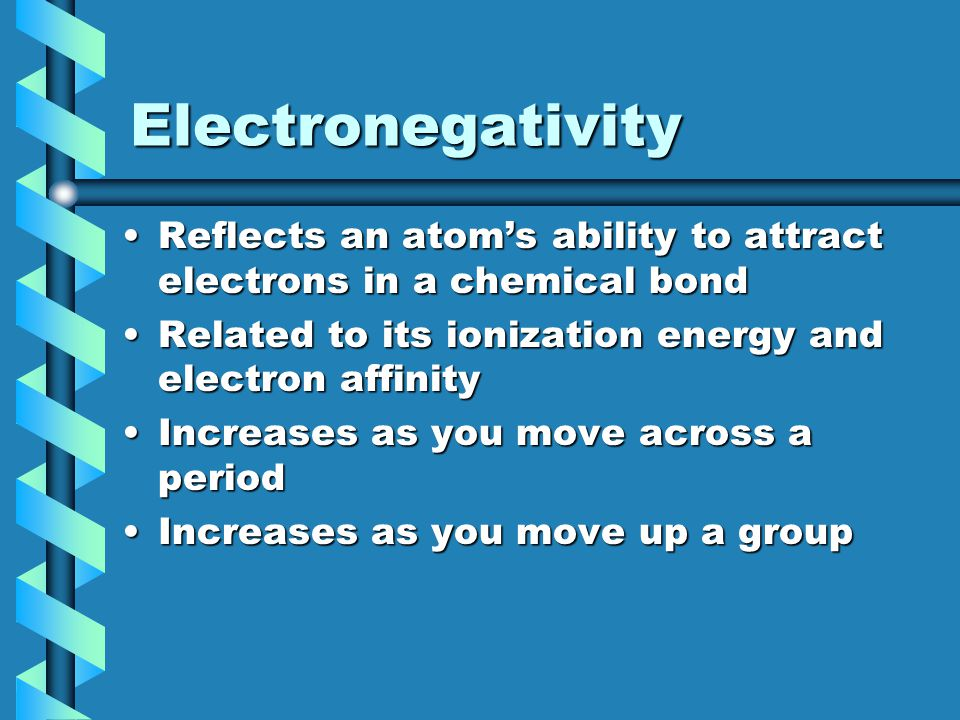 Electronegativity Reflects an atom's ability to attract electrons in a chemical bondReflects an atom's ability to attract electrons in a chemical bond