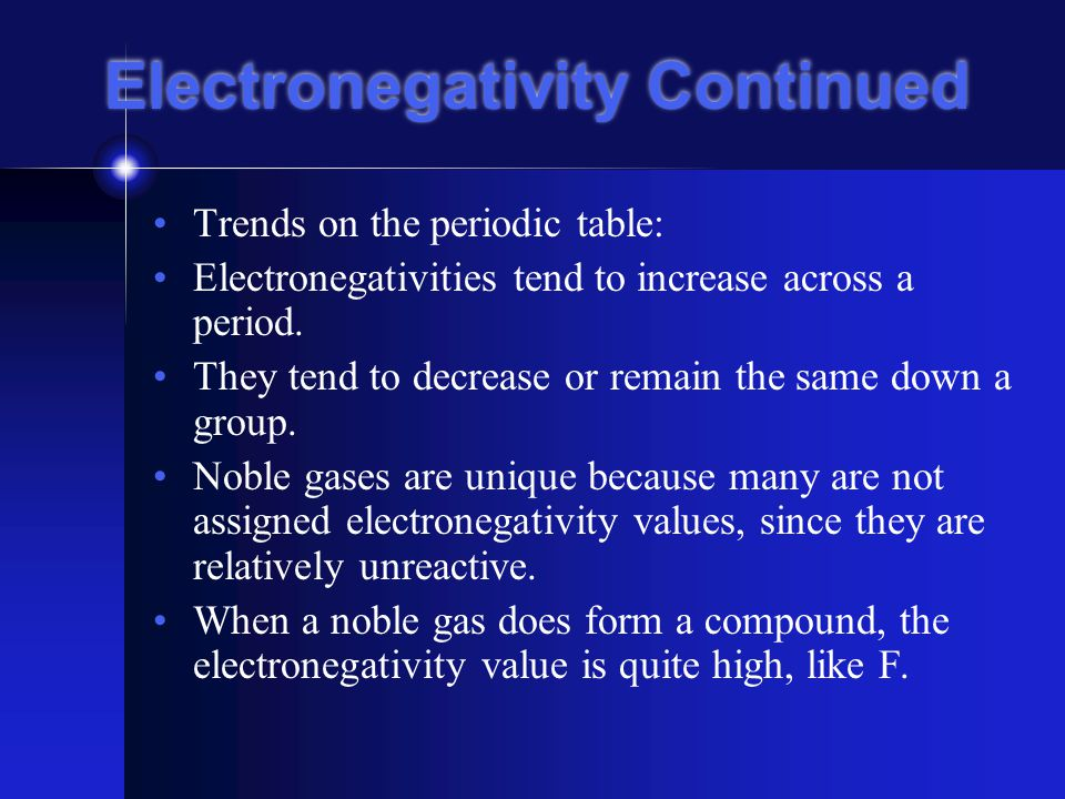 Periodic Trends Electronegativity- measure of the ability of an atom in a chemical compound to attract electrons The reason this is necessary is that the negative charge of electrons in a compound is not evenly distributed between the atoms.
