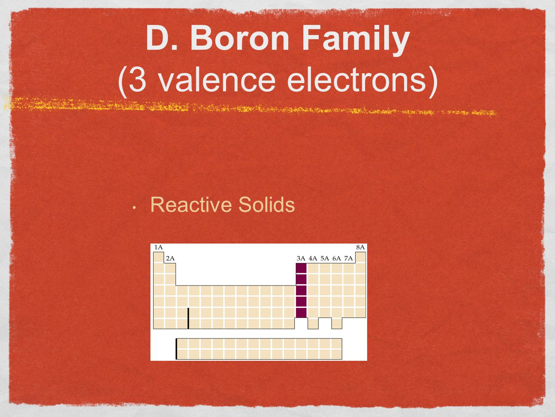 D. Boron Family (3 valence electrons) Reactive Solids