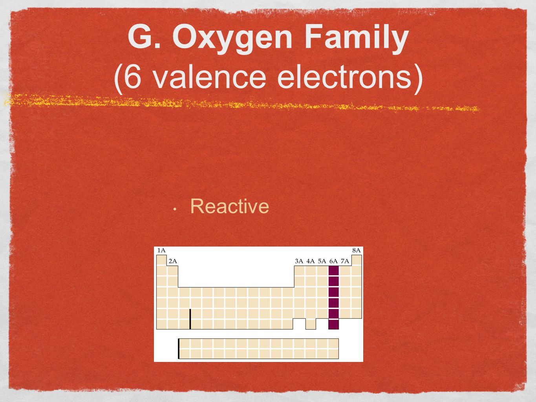 G. Oxygen Family (6 valence electrons) Reactive