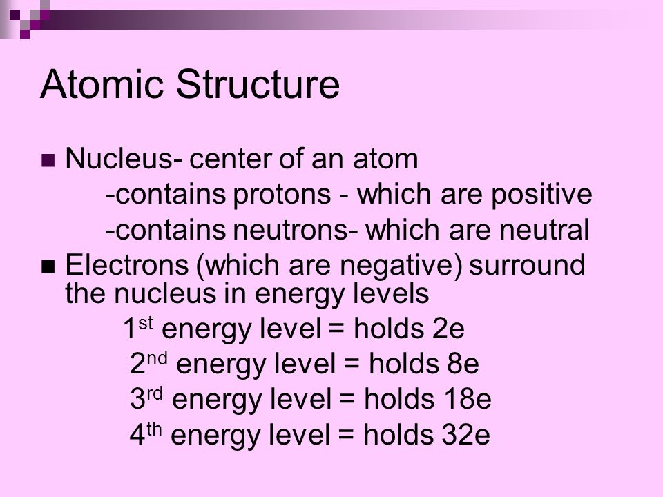 Atomic Structure Nucleus- center of an atom -contains protons - which are positive -contains neutrons- which are neutral Electrons (which are negative) surround the nucleus in energy levels 1 st energy level = holds 2e 2 nd energy level = holds 8e 3 rd energy level = holds 18e 4 th energy level = holds 32e