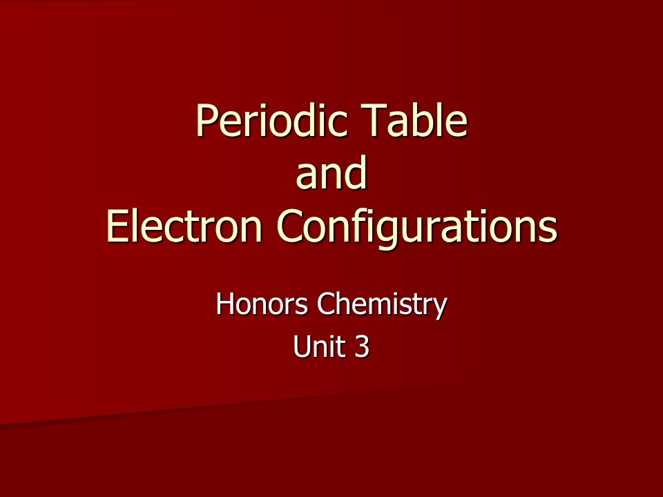 Periodic Table and Electron Configurations Honors Chemistry Unit 3
