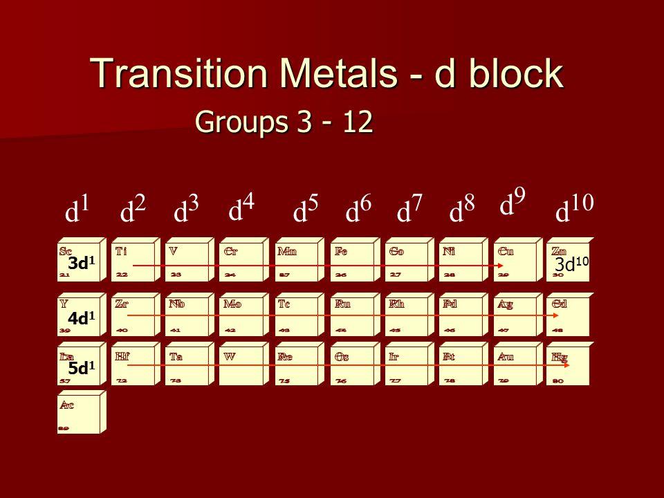 Transition Metals - d block d1d1 d2d2 d3d3 d4d4 d5d5 d6d6 d7d7 d8d8 d9d9 d 10 Groups 3 - 12 3d 1 4d 1 5d 1 3d 10