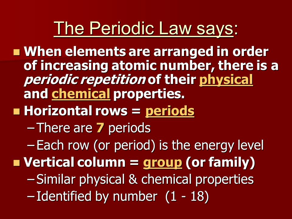 The Periodic Law says: When elements are arranged in order of increasing atomic number, there is a periodic repetition of their physical and chemical properties.