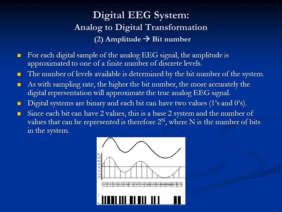 Digital EEG System: Analog to Digital Transformation (2) Amplitude  Bit number For each digital sample of the analog EEG signal, the amplitude is app