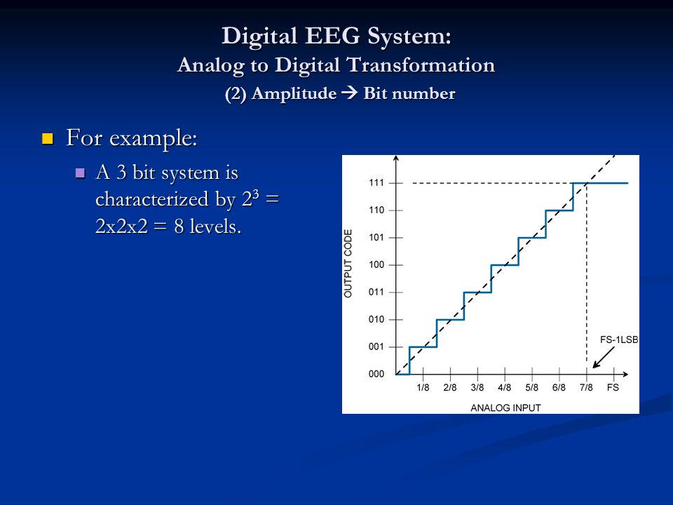 Digital EEG System: Analog to Digital Transformation (2) Amplitude  Bit number For example: For example: A 3 bit system is characterized by 2 3 = 2x2