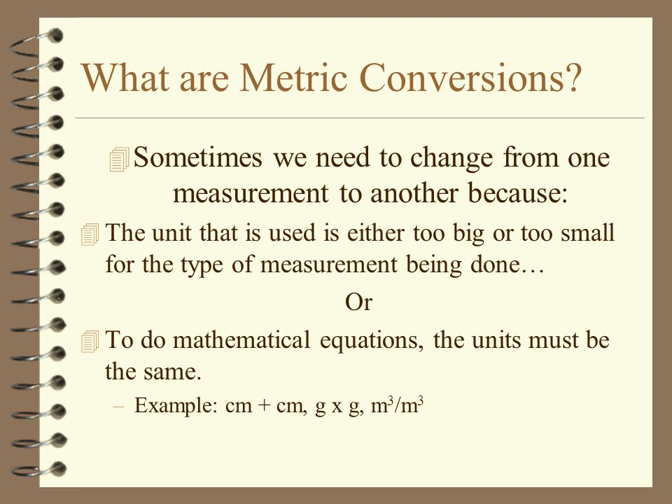 What are Metric Conversions.