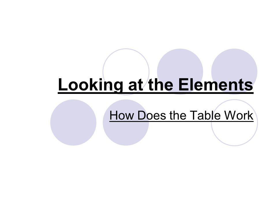 Looking at the Elements How Does the Table Work