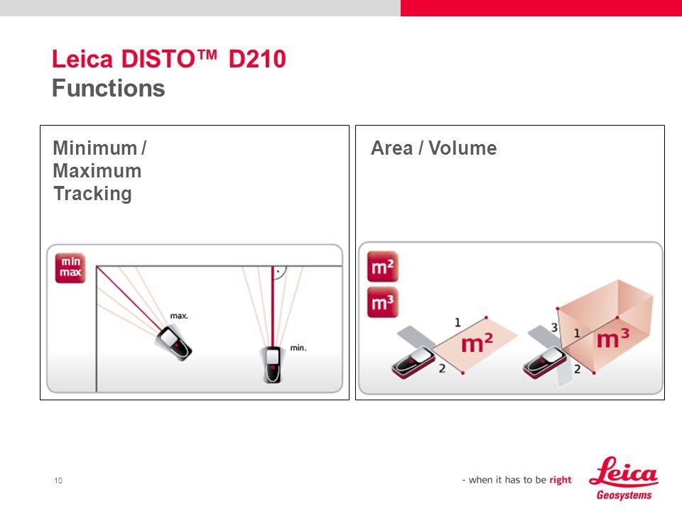 10 Leica DISTO™ D210 Functions Minimum / Maximum Tracking Area / Volume