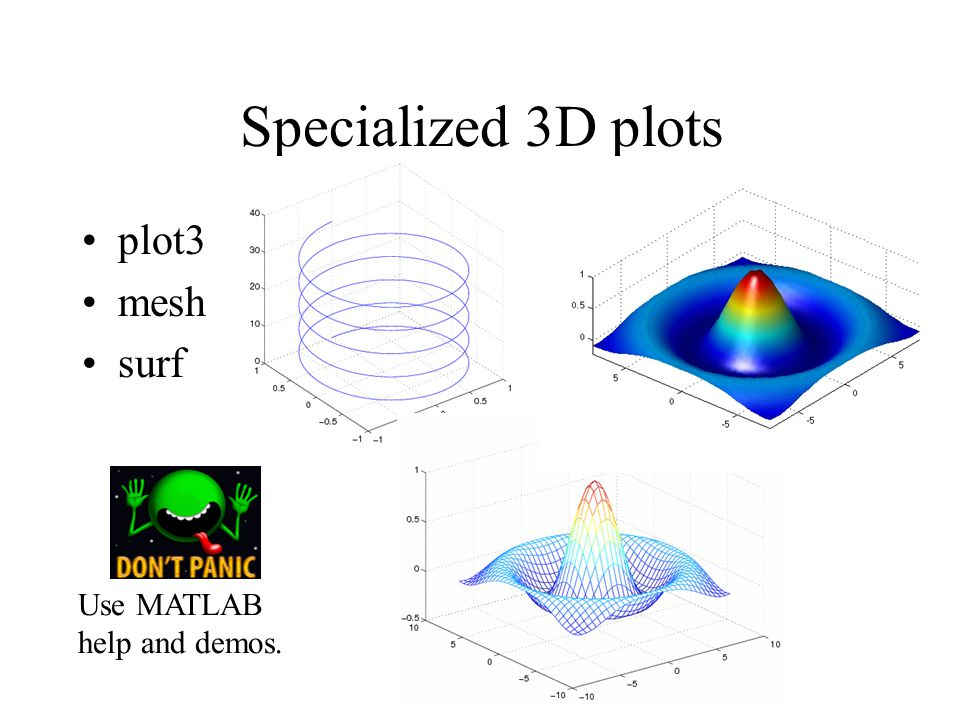 Specialized 3D plots plot3 mesh surf Use MATLAB help and demos.