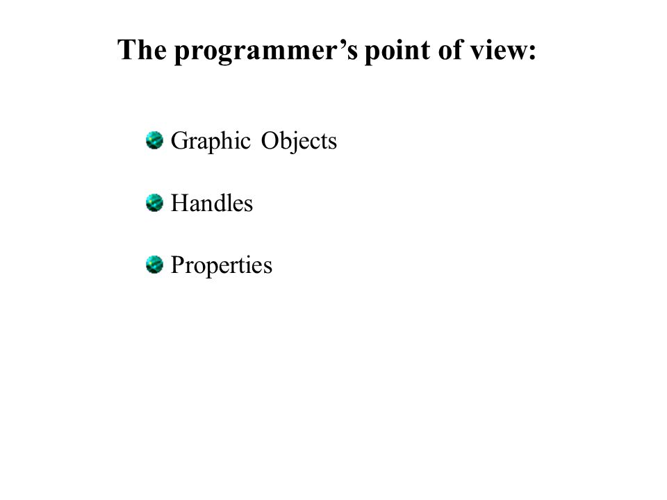 The programmer's point of view: Graphic Objects Handles Properties