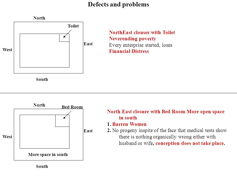 Defects and problems North East South West Toilet NorthEast clouser with Toilet Neverending poverty Every enterprise started, loses Financial Distress