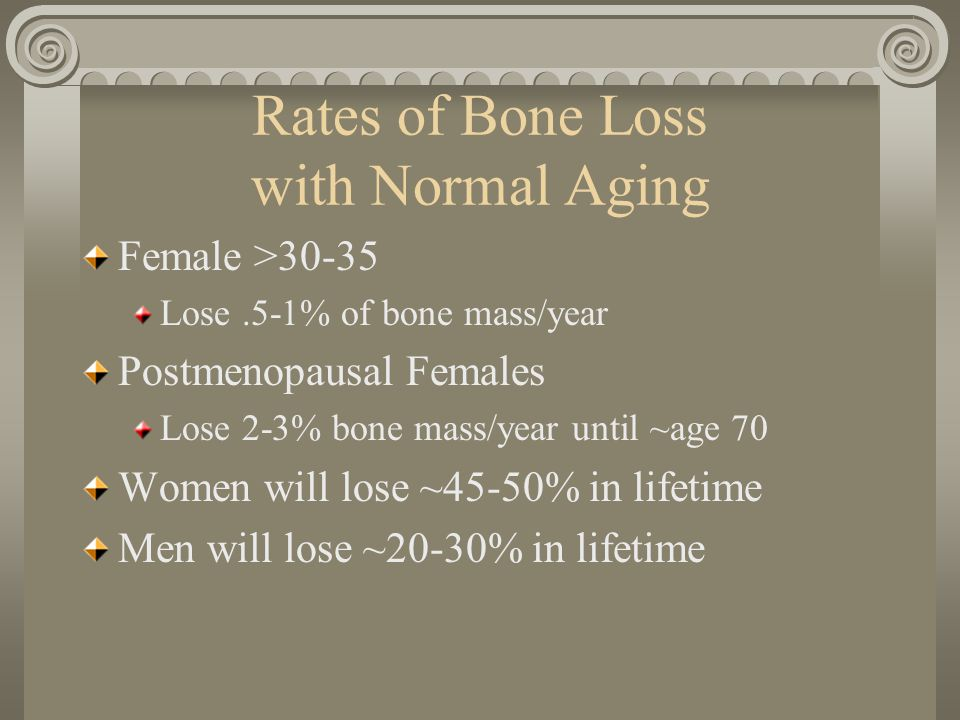 Rates of Bone Loss with Normal Aging Female >30-35 Lose.5-1% of bone mass/year Postmenopausal Females Lose 2-3% bone mass/year until ~age 70 Women will lose ~45-50% in lifetime Men will lose ~20-30% in lifetime