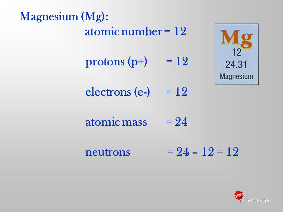 Magnesium (Mg): atomic number = 12 protons (p+) = 12 electrons (e-) = 12 atomic mass = 24 neutrons = 24 – 12 = 12