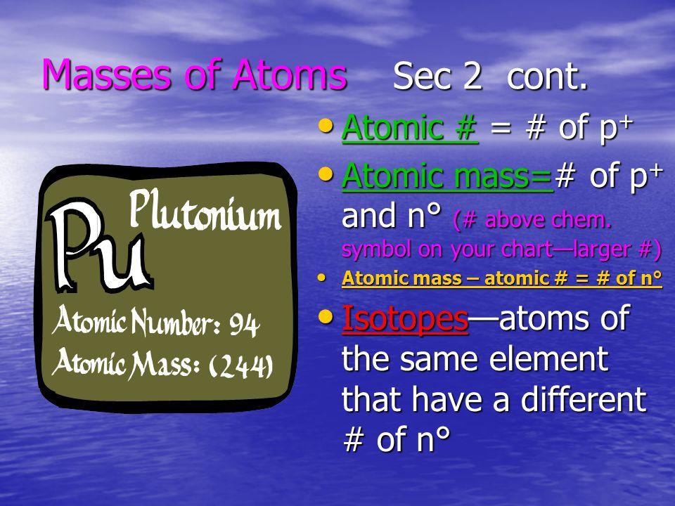 Masses of Atoms Sec 2 cont.
