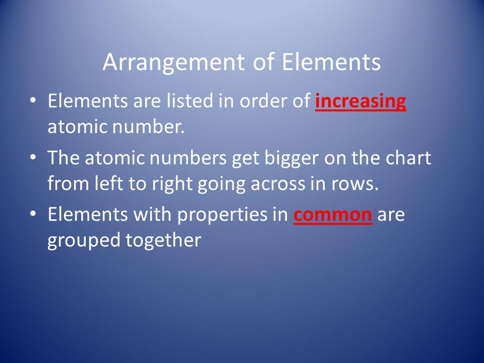 Arrangement of Elements Elements are listed in order of increasing atomic number. The atomic numbers get bigger on the chart from left to right going
