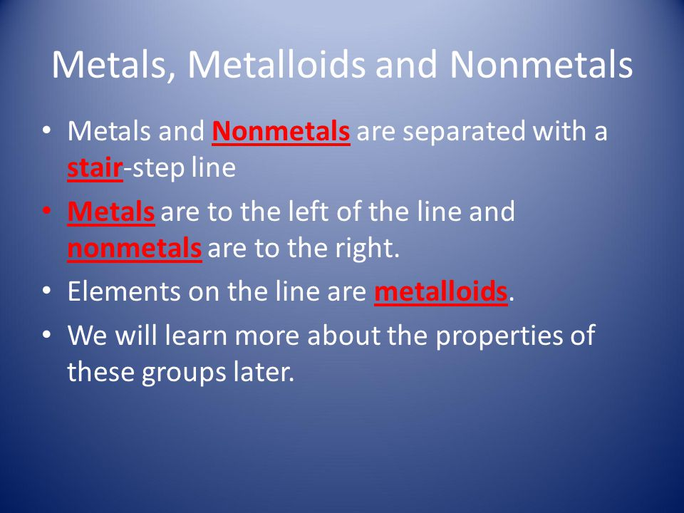 Metals, Metalloids and Nonmetals Metals and Nonmetals are separated with a stair-step line Metals are to the left of the line and nonmetals are to the
