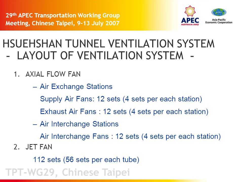 TPT-WG29, Chinese Taipei 29 th APEC Transportation Working Group Meeting, Chinese Taipei, 9-13 July 2007 HSUEHSHAN TUNNEL VENTILATION SYSTEM - LAYOUT OF VENTILATION SYSTEM - 1.AXIAL FLOW FAN –Air Exchange Stations Supply Air Fans: 12 sets (4 sets per each station) Exhaust Air Fans : 12 sets (4 sets per each station) –Air Interchange Stations Air Interchange Fans : 12 sets (4 sets per each station) 2.JET FAN 112 sets (56 sets per each tube)