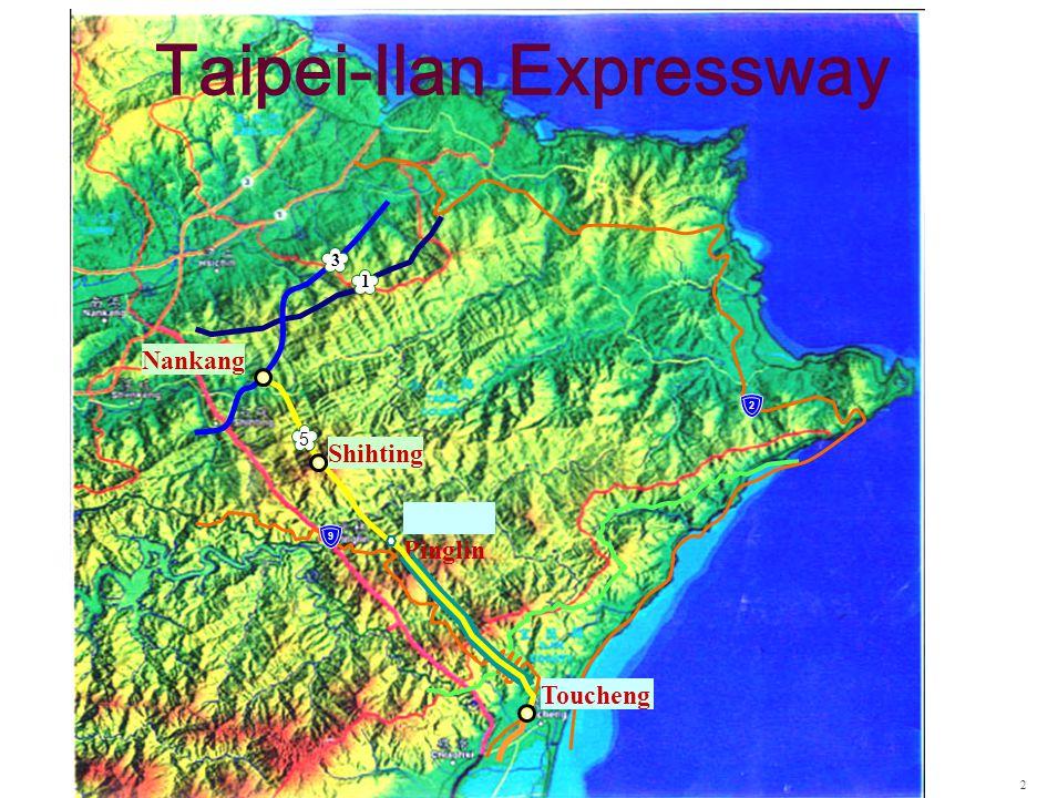 Nankang Shihting Pinglin Toucheng 3 1 5 Taipei-Ilan Expressway 2 2 9